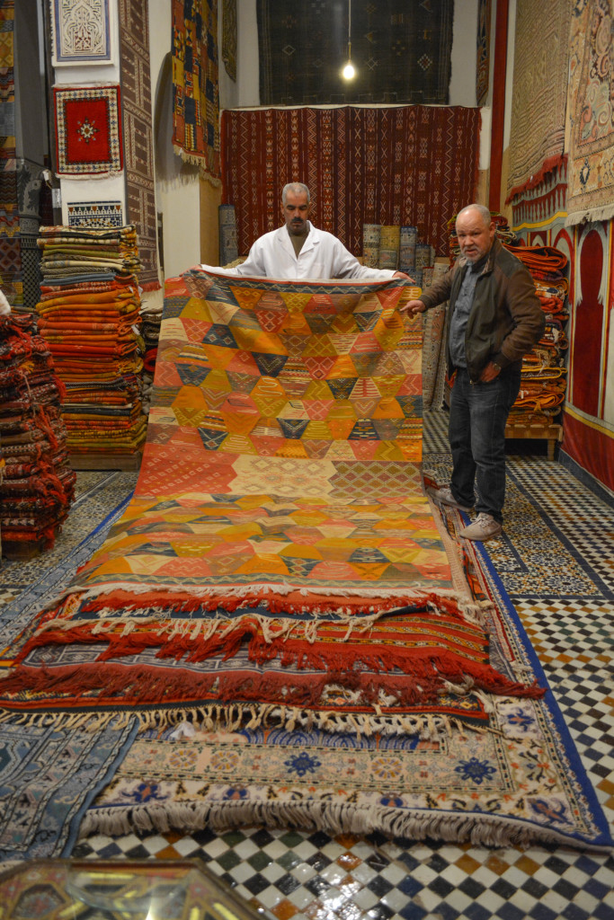 We went to a rug factory and the owner showed us rug after rug after rug. We learned about the different styles and methods used to create the rugs.