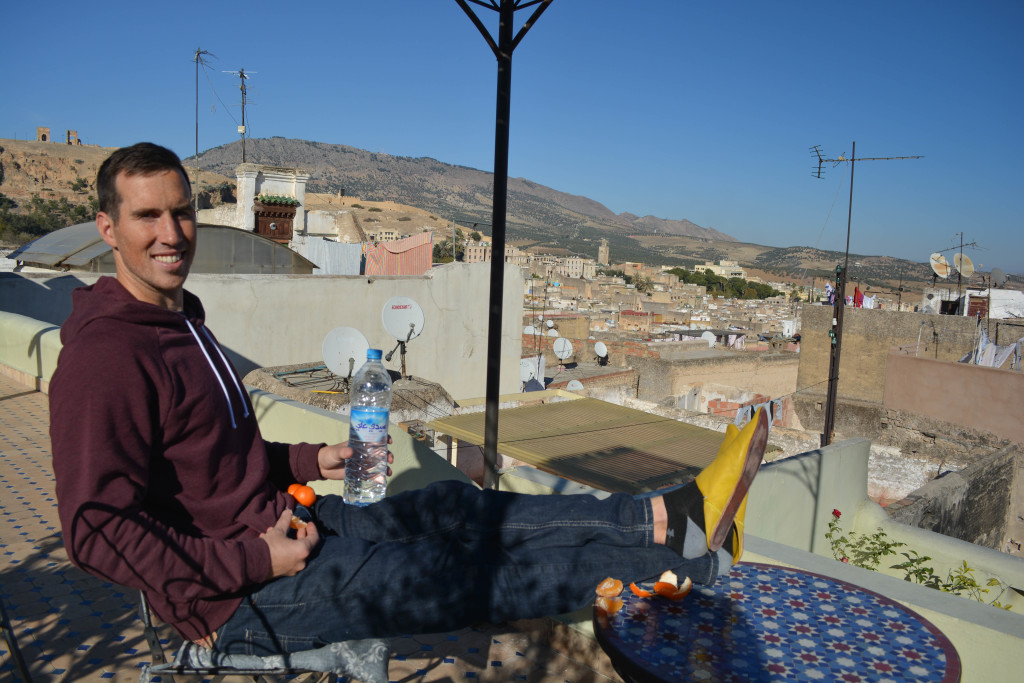Eric chillin' on our roof terrace, check out those Moroccan slippers!
