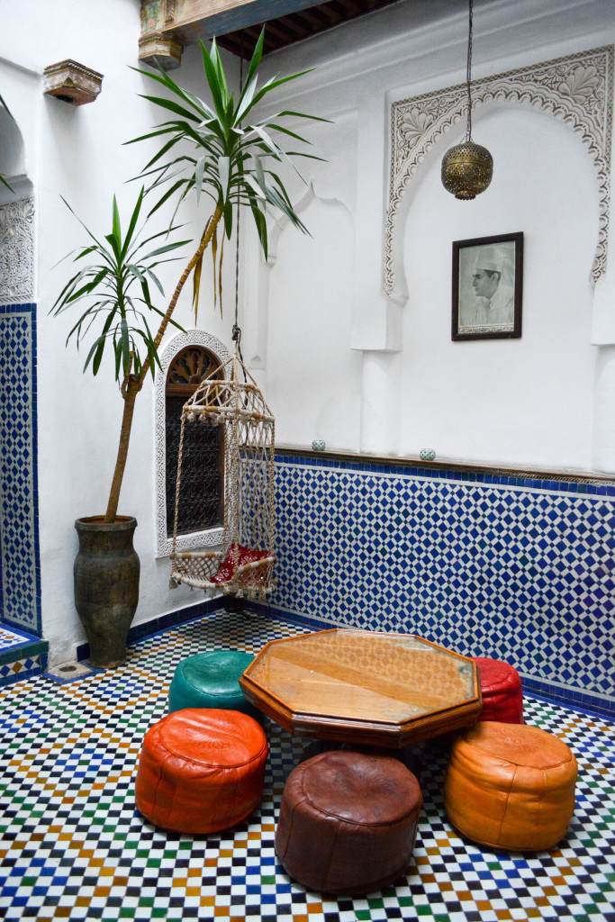 The living room of our sweet Moroccan house! We would sit here for breakfast or do some computer work.