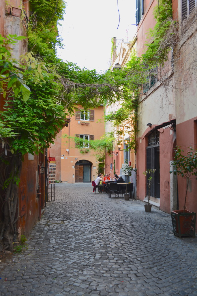 One of many little cobblestone winding streets of Trastevere.
